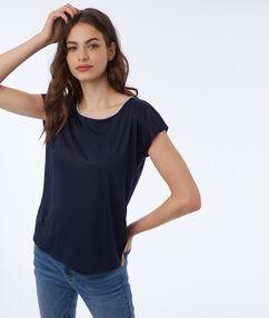 T shirt à liseré métallisé bleu marine.