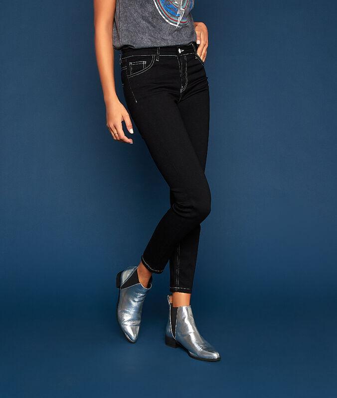 Jean droit à coutures contrastantes noir.