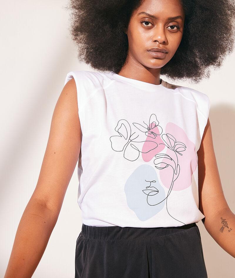T-shirt épaulettes imprimé en coton