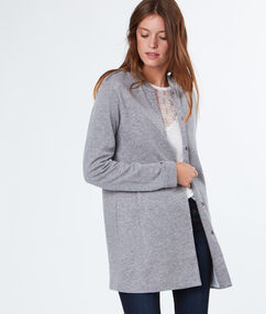 Veste longue gris chine clair.