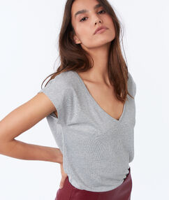 T-shirt met v-hals en metallic draad grijs.