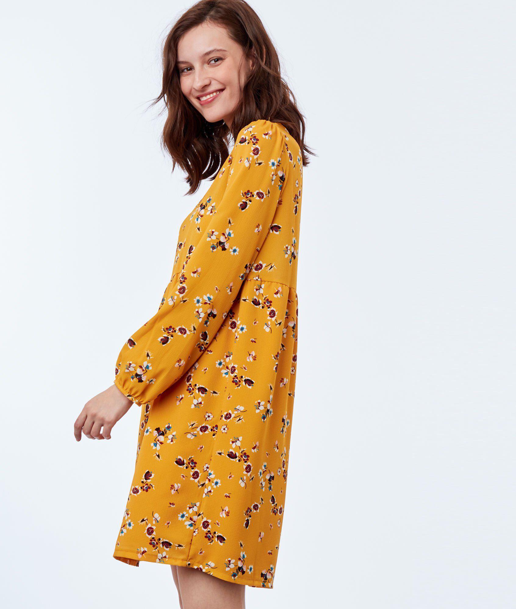 21f313e084c9c Robe imprimée fleurs - JANYS - OCRE - Etam