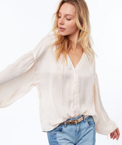 Blouse manches oversize nude.