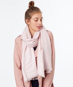 Foulard pashmina rose poudre.