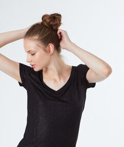 T-shirt effet lurex noir.