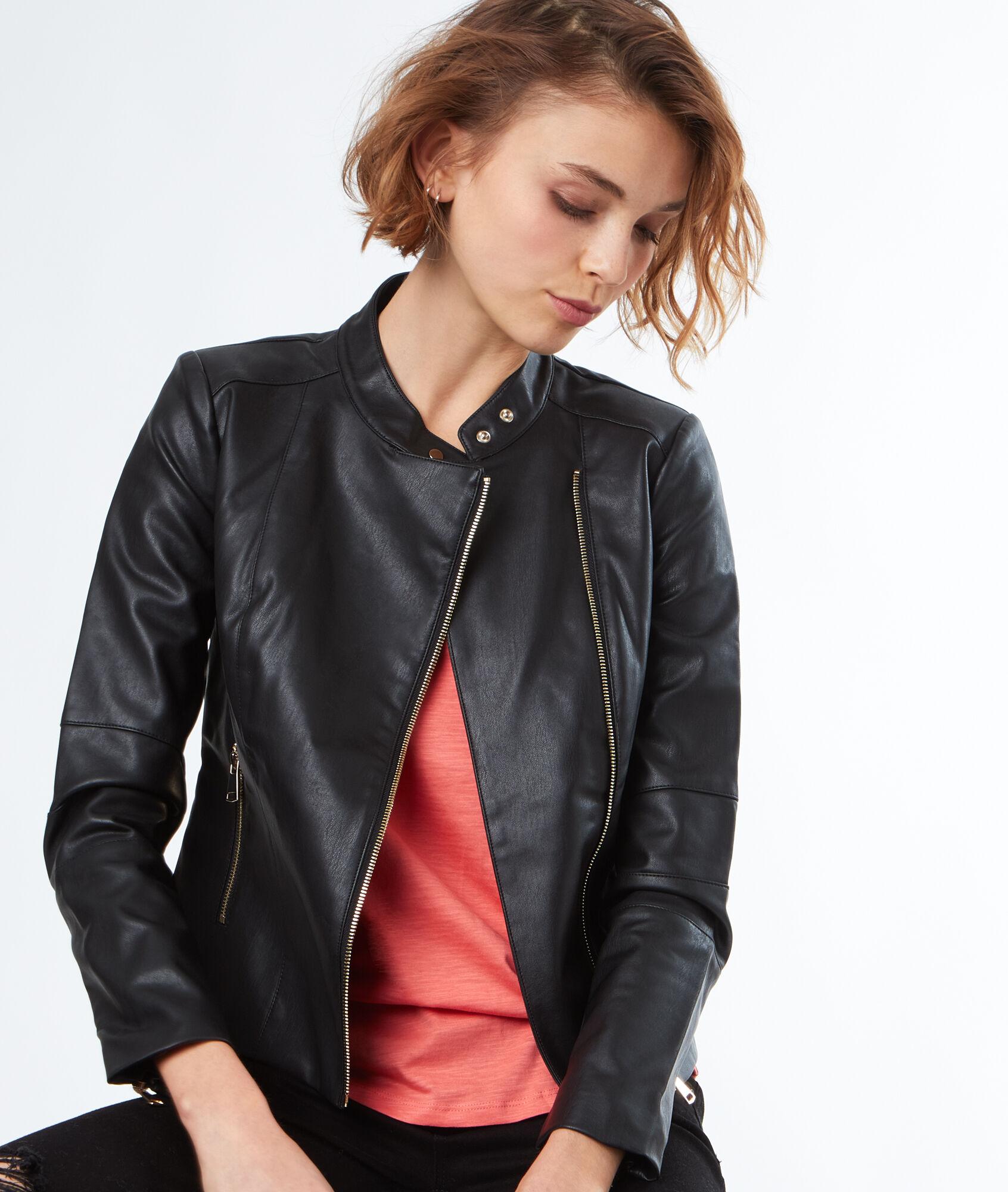 acheter pas cher styles divers moins cher Blouson biker effet cuir - Vestes & manteaux - Prêt-à-porter - Prix minis -  Outlet