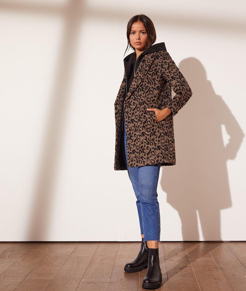Manteau léopard à capuche