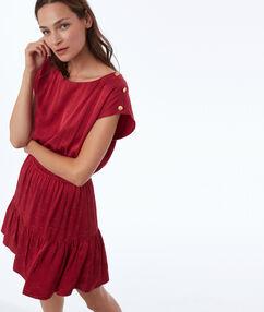 Jacquard jurk met inkteffect roze.