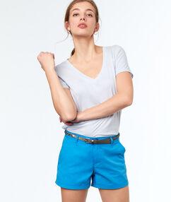 Short ceinturé en coton bleu marine.