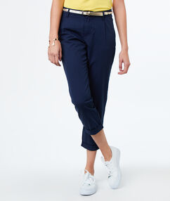 Pantalon carotte 7/8 bleu marine.