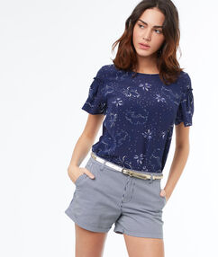 Short à rayures en coton bleu marine.