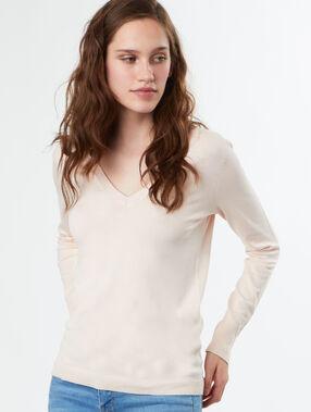 Pull tricot col v rose pale.