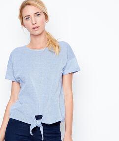 Top manches courtes en coton noué bleu.