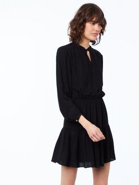 Effen jurk met lange mouwen zwart.
