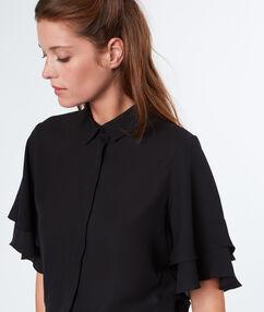 Chemise fluide manches à volants noir.