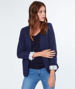Veste tailleur en coton bleu marine.