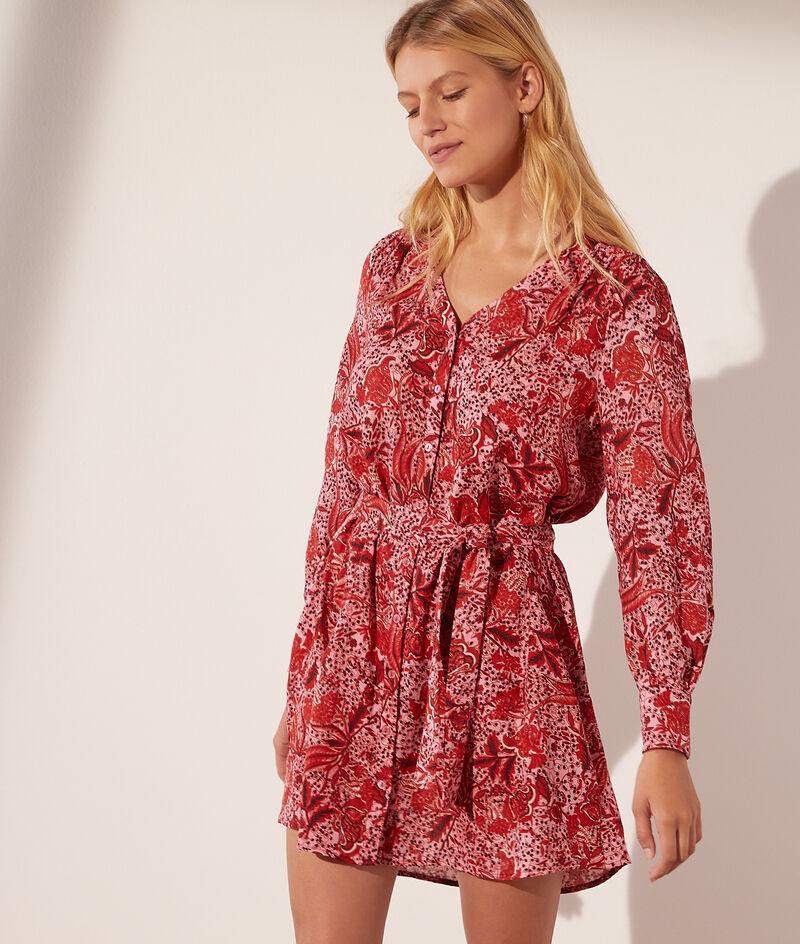 Robe courte imprimé fleuri avec ceinture