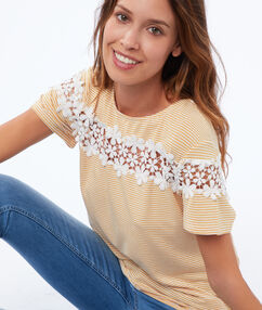 T-shirt avec dentelle fleurie mimosa.