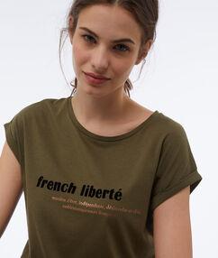 T-shirt imprimé kaki.