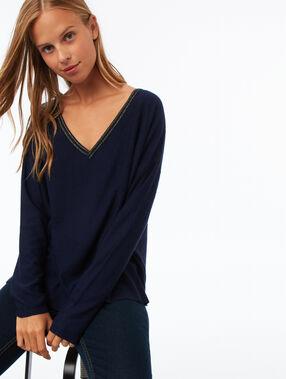 V-hals trui met metallic weefseldetail blauw.