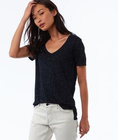 T-shirt met metallic weefseldetail blauw.