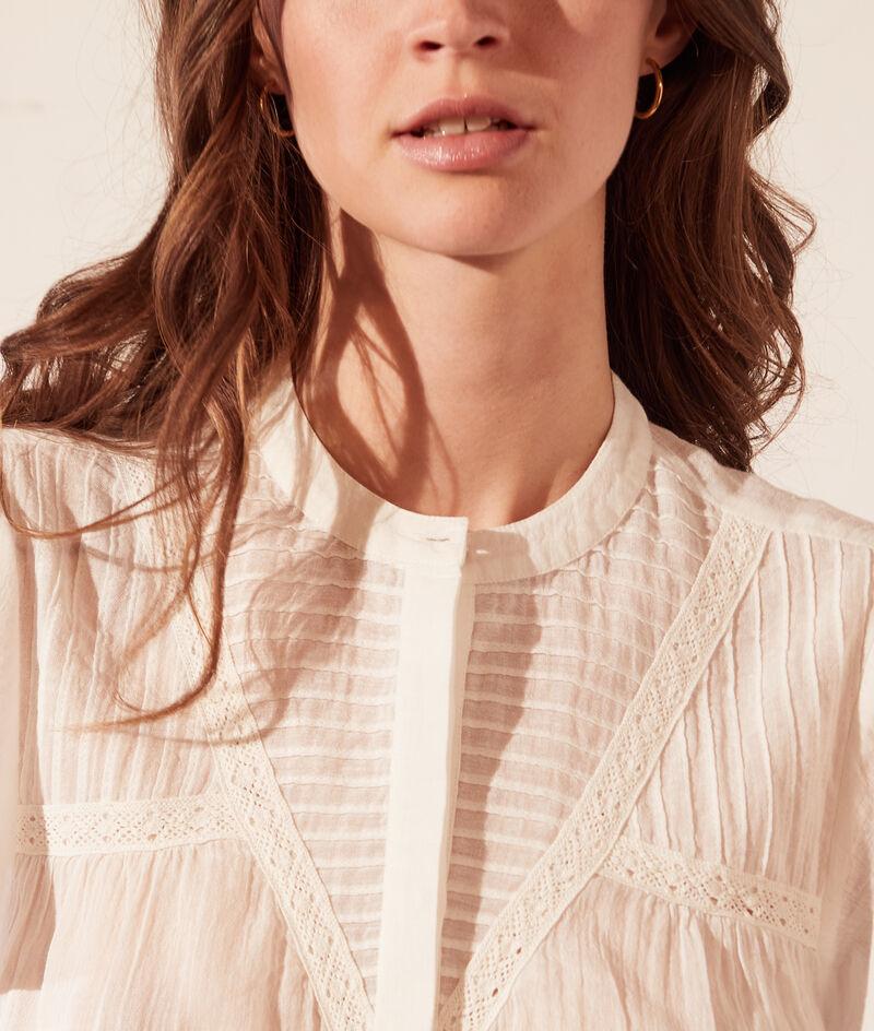 Transparant hemd met korte mouwen en volants