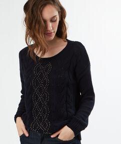 Pull tricot col rond en coton bleu marine.