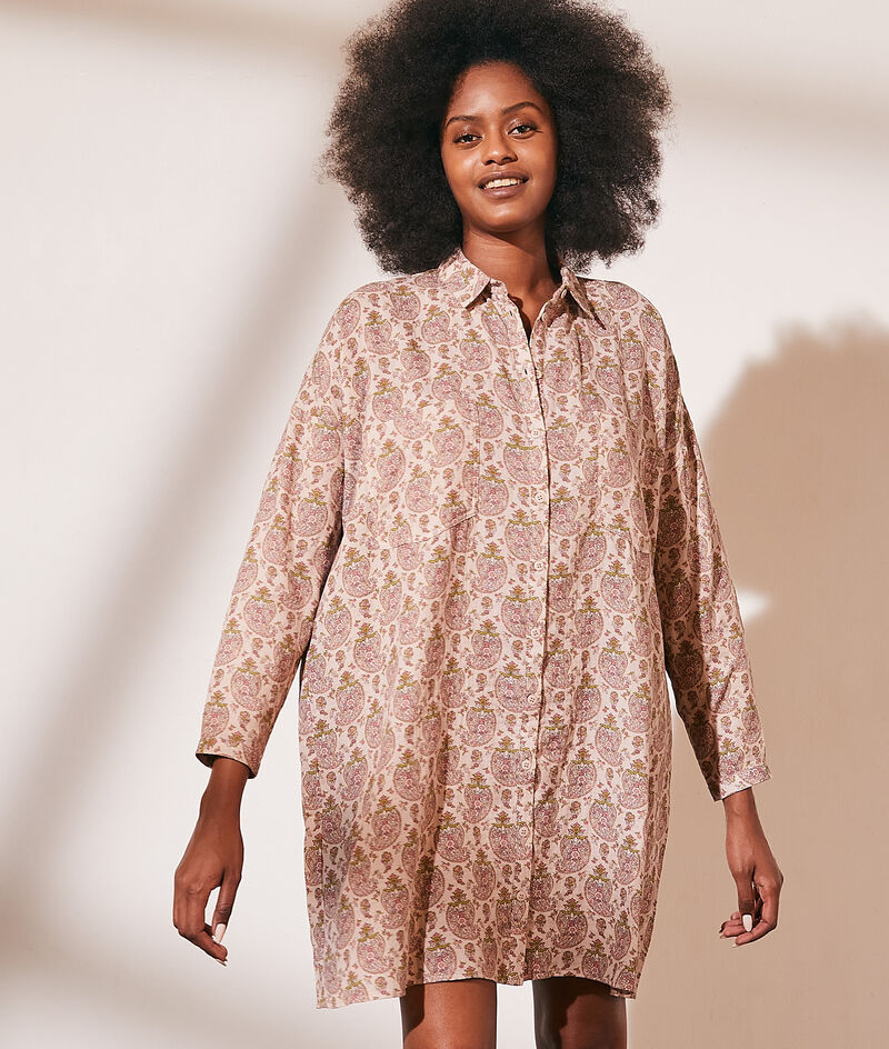 Robe chemise imprimée en gaze de coton