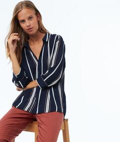 Gestreepte blouse blauw.