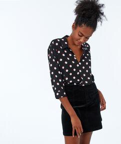Polkadot blouse zwart.