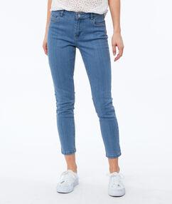 Jean skinny 7/8 bleu délavé moyen.