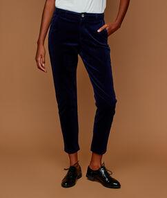 Pantalon en velours 7/8 bleu marine.