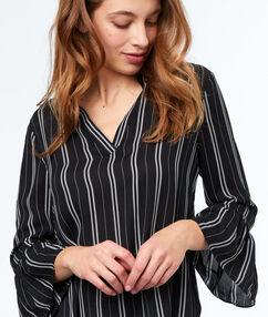 Gestreepte blouse zwart.