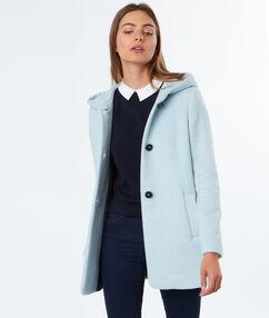 Manteau 3/4 à capuche ciel.
