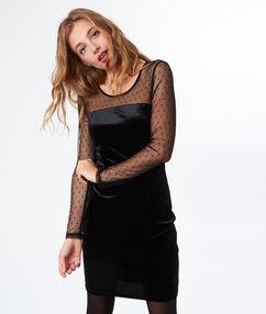 Robe habillée plumetis noir.