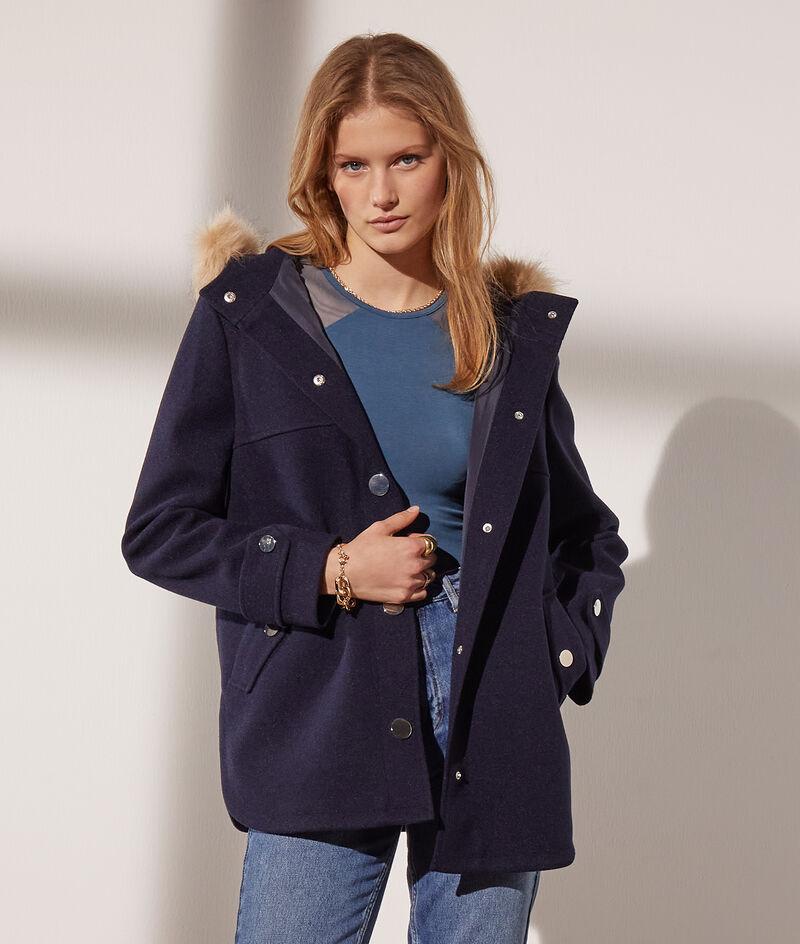 Mantel met capuchon nepbont