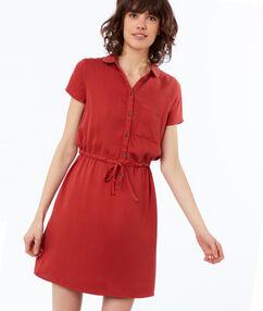 Robe avec poche en tencel rouge tomate.