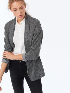 Veste col châle à chevrons noir.
