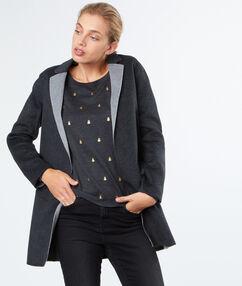 Manteau en laine mélangée avec col bicolore gris anthracite.