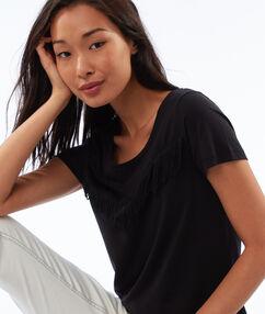 T-shirt col rond à franges noir.