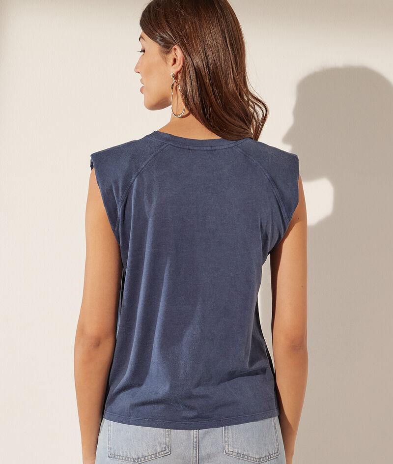 T-shirt met katoenen epauletten 'Potiche'