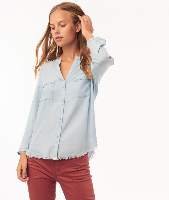 Chemise à bords frangés en tencel® medium denim.