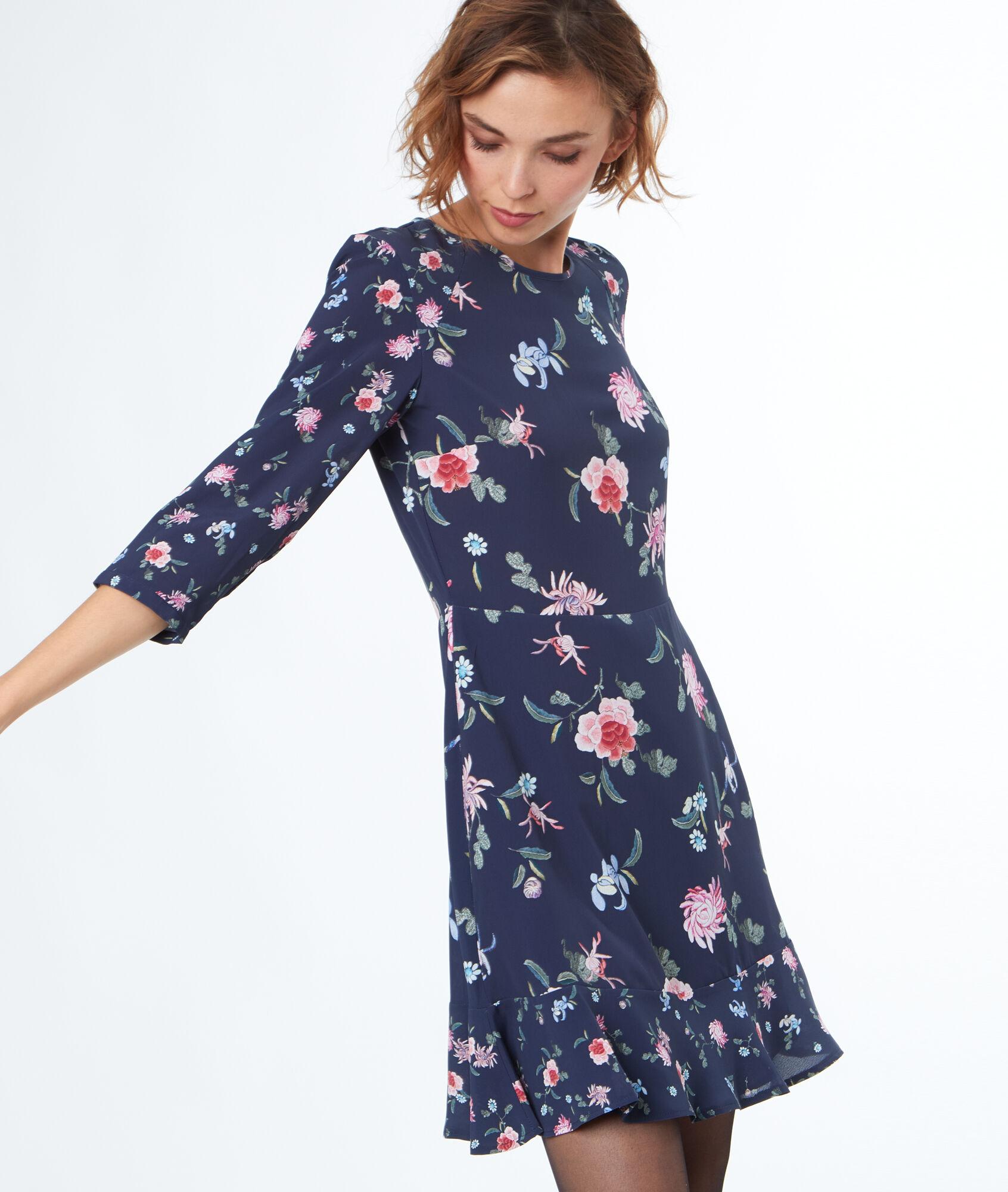 9254c88893387 Robe imprimée fleurs - KIARA - BLEU MARINE - Etam