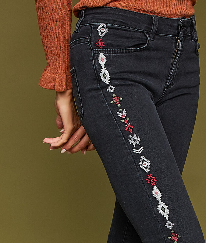 Pantalon bande latérale brodée gris anthracite.