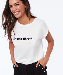 T shirt col rond imprimé ecru.