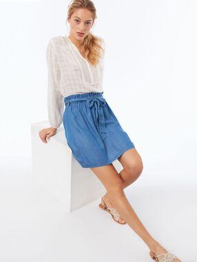 Katoenen blouse met tuniekkraag ecru.