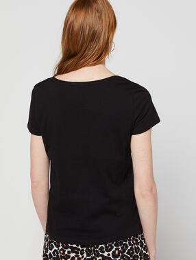 T-shirt à broderies cœur 100% coton noir.