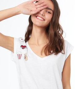 T-shirt col v en coton blanc.