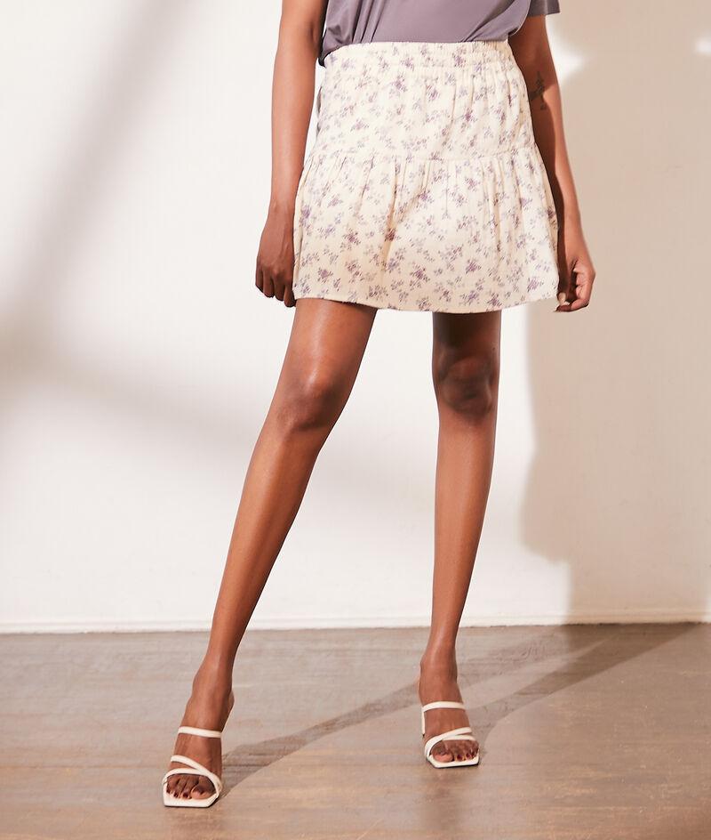 Korte rok van katoengaas met bloemenprint