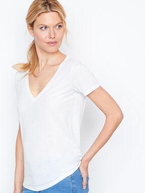 T-shirt col v effet métallisé blanc.